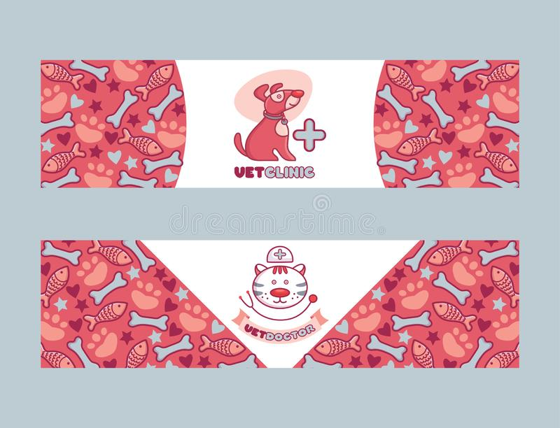 Veterinair vectorhuisdierkarakter op vetclinic de illustratiereeks van de embleem vetshop logotype achtergrond van kattenhond op  vector illustratie