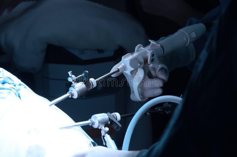 Veterinaire arts in verrichtingsruimte voor laparoscopic chirurgisch stock fotografie
