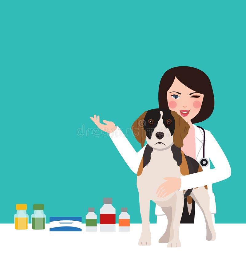 Veterinaire dierlijke hond arts in de jonge beroeps van de kliniekvrouw in kliniek die zorg nemen royalty-vrije illustratie