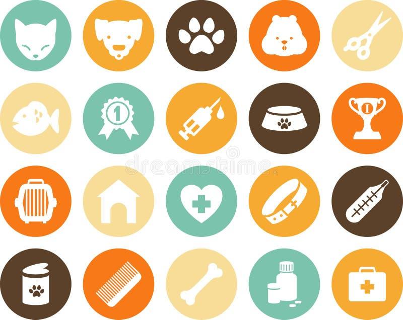 Veterinaire geplaatste pictogrammen stock illustratie