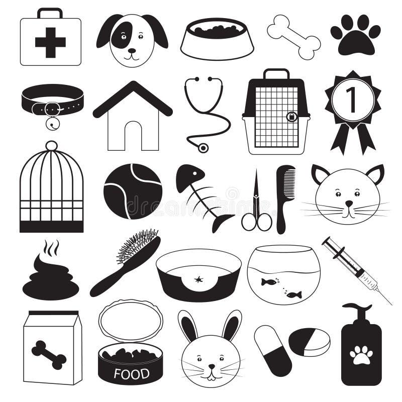 Veterinaire Kliniek en Huisdieren Geplaatste Pictogrammen vector illustratie