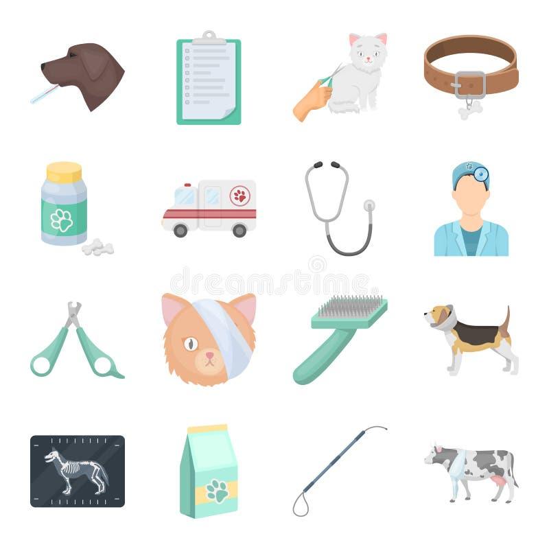 Veterinaire kliniek vastgestelde pictogrammen in beeldverhaalstijl Grote inzameling van veterinaire de voorraadillustratie van he royalty-vrije illustratie