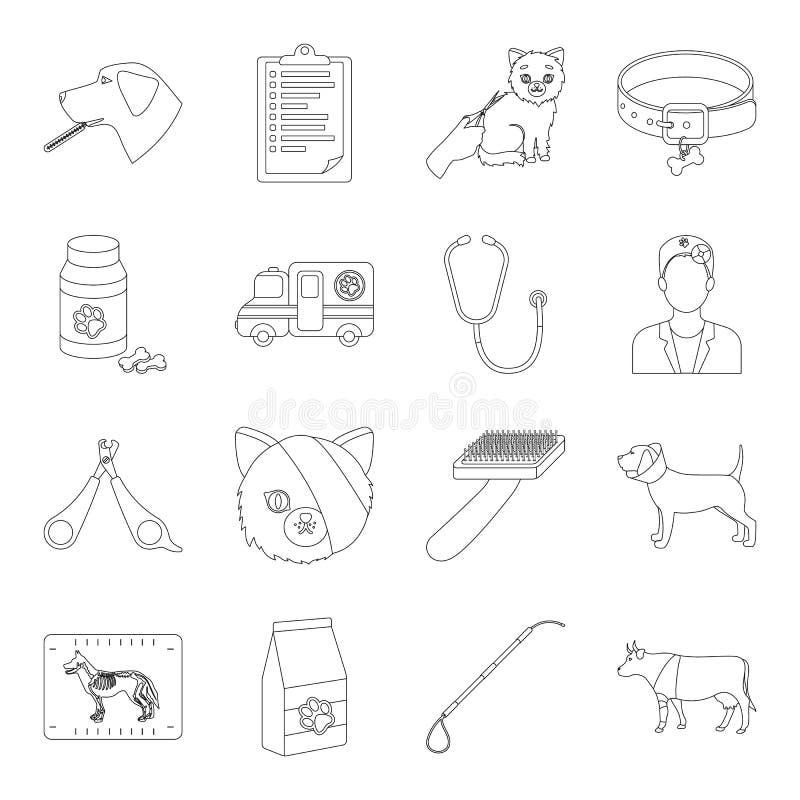 Veterinaire kliniek vastgestelde pictogrammen in overzichtsstijl Grote inzameling van veterinaire de voorraadillustratie van het  royalty-vrije illustratie