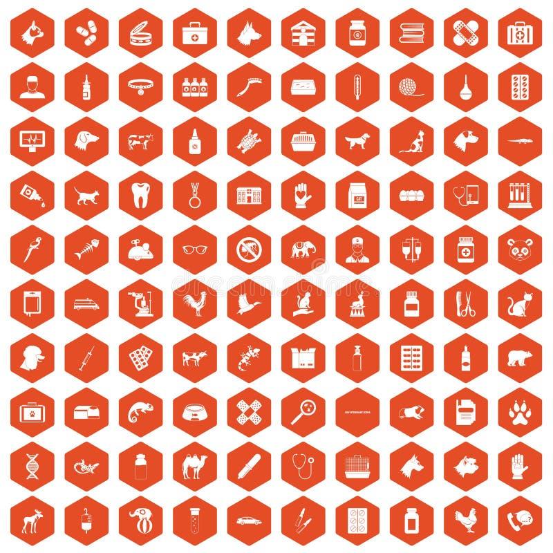 100 veterinaire pictogrammen hexagon sinaasappel vector illustratie
