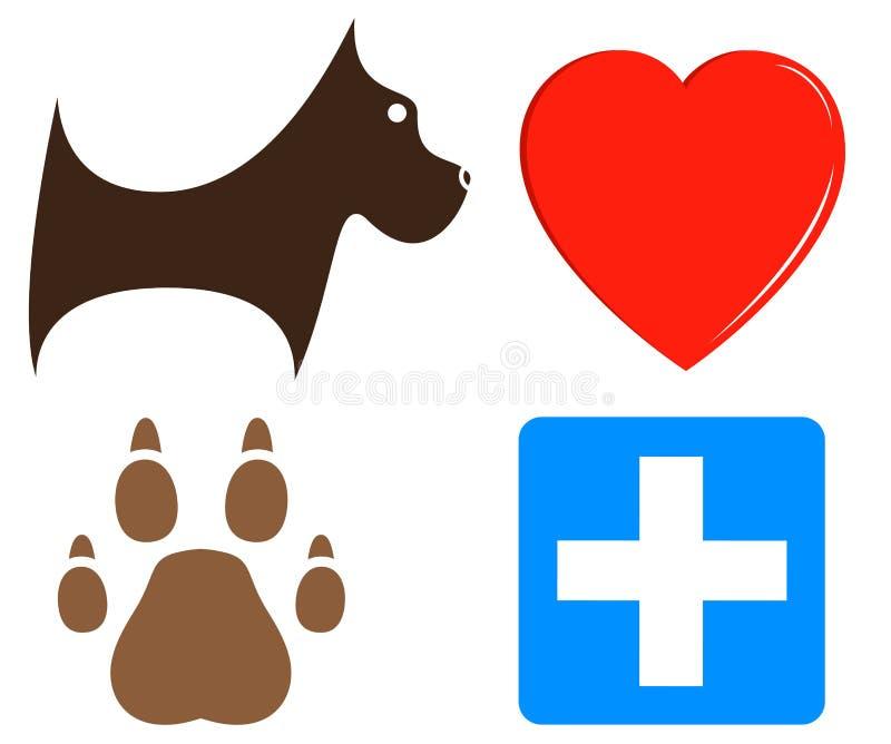 Veterinaire pictogrammen voor huisdierenhulp royalty-vrije illustratie