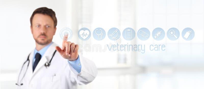 Veterinaire van de het schermdierenarts van de artsenaanraking de symbolenpictogrammen op achtergrond stock afbeelding