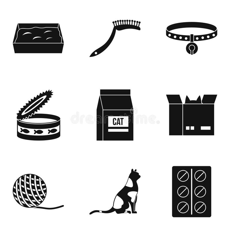 Veterinar symbolsuppsättning, enkel stil stock illustrationer