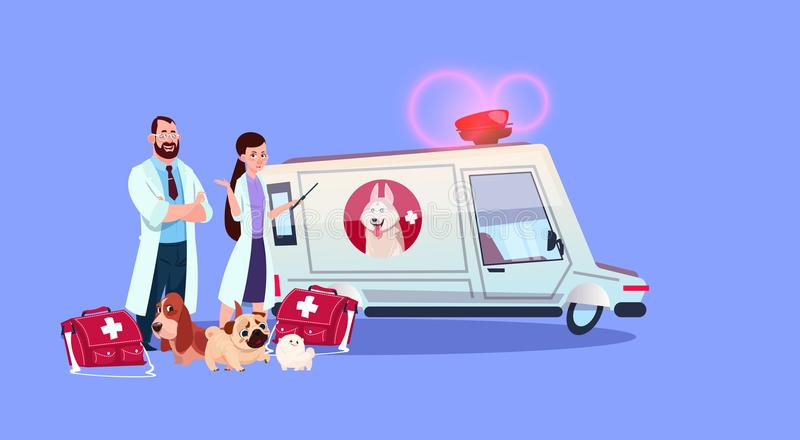 Veterinarian Doctors Standing At Ambulance Car Veterinary Medicine Concept. Flat Vector Illustration stock illustration