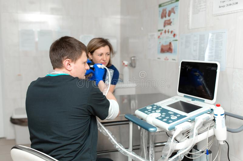 A veterinarian does an ultrasound of the dog`s eye in the office. Assistant helps keep the dog when the doctor is a veterinarian royalty free stock photo