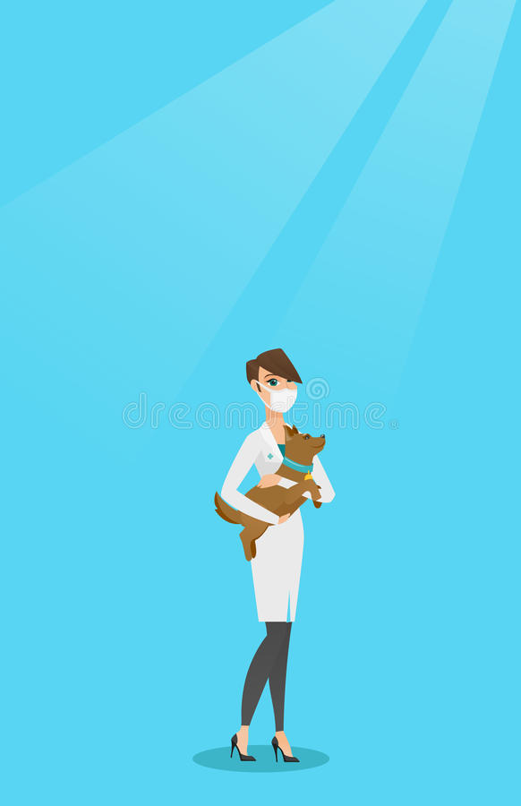 Veterinarian with dog in hands vector illustration. Young caucasian veterinarian holding a dog. Veterinarian doctor in medical mask carrying a dod. Veterinarian stock illustration