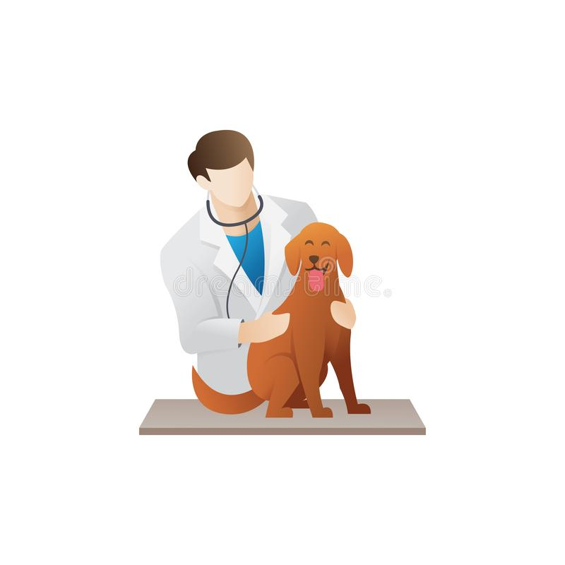 Veterinarian with a dog stock illustration