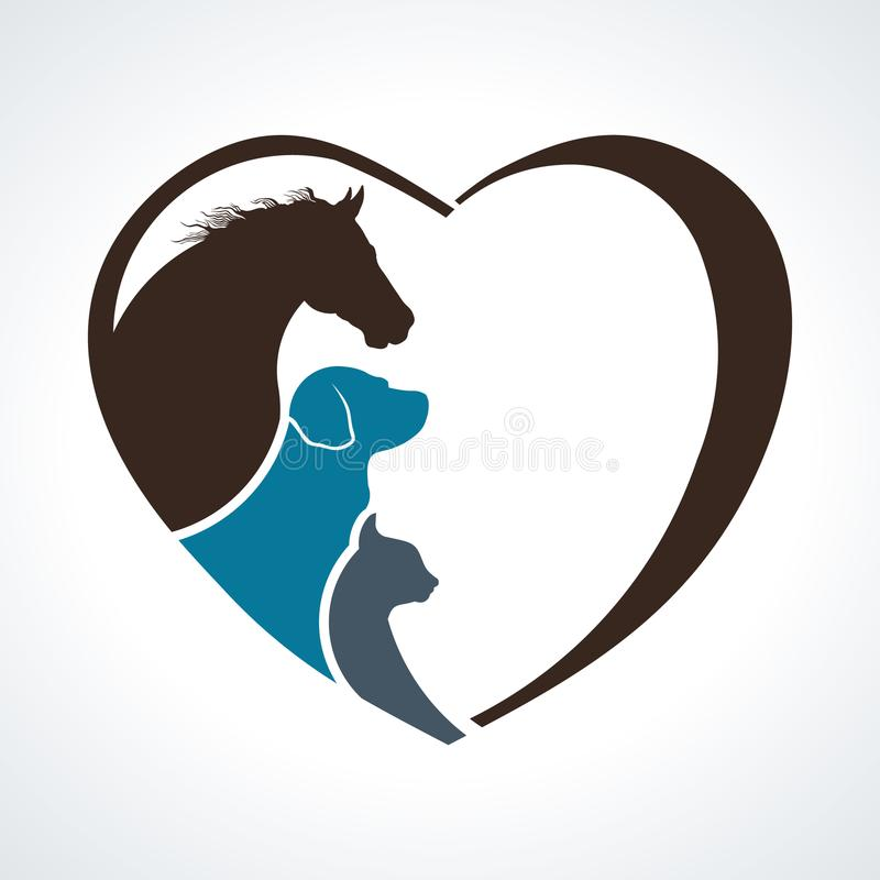 Free Veterinarian Heart Animal Love. Horse,Dog And Cat Together Stock Photography - 108259742