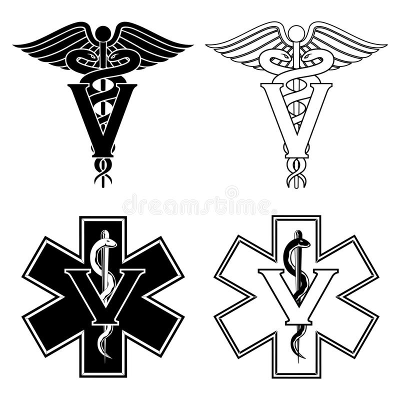 Veterinarian Medical Symbols. Illustration of two versions of a veterinarian medical symbol. At the top are two veterinarian symbols and at the bottom are two