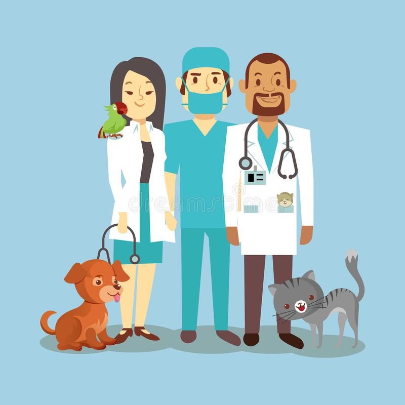 Veterinarian staff with cute pets isolated on blue stock illustration