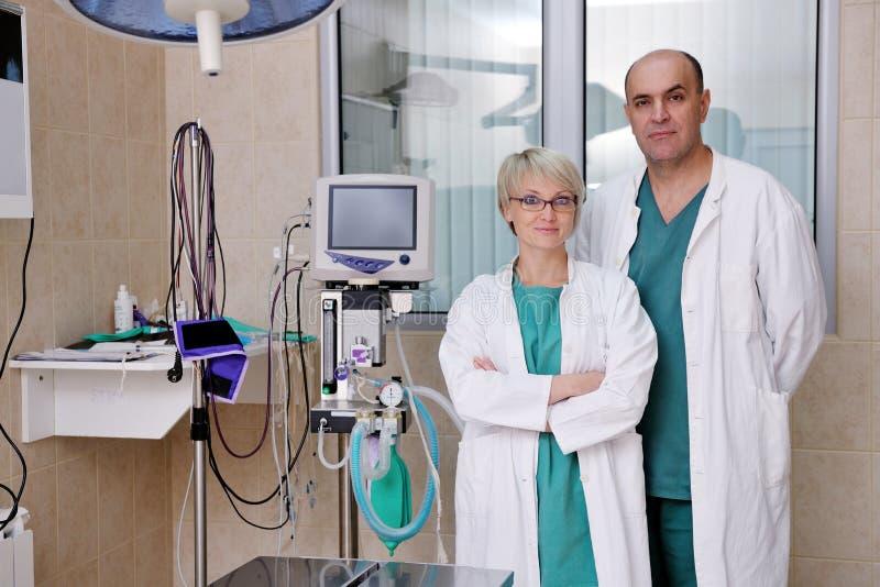 Veterinario ed assistente in clinica animale fotografia stock