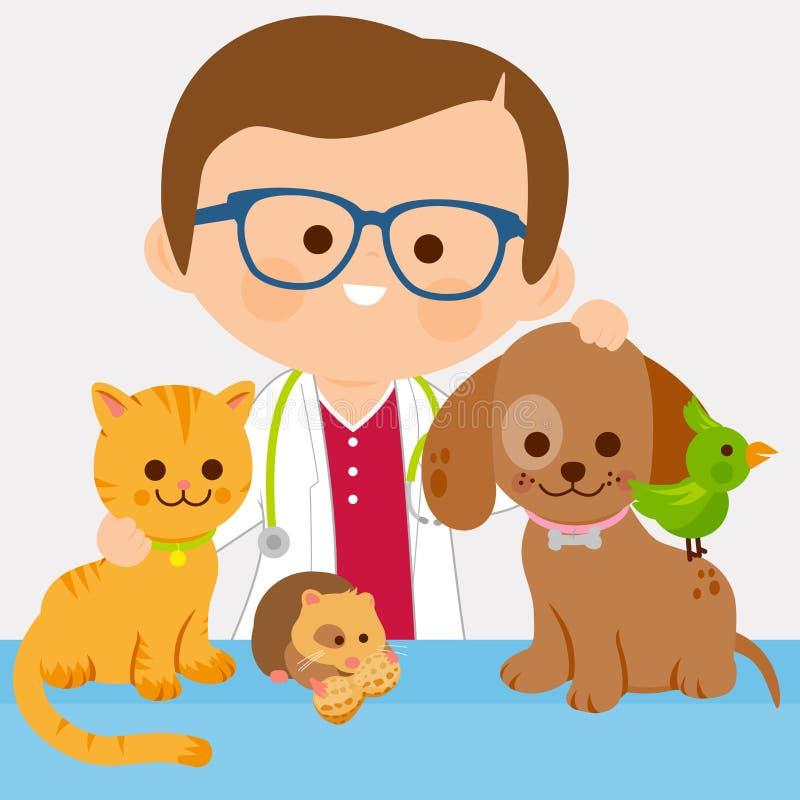 Veterinario y animales domésticos ilustración del vector