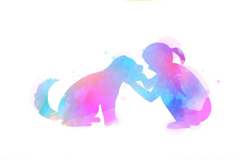 veterinary любимчика внимательности Девушка играя с силуэтом собаки на предпосылке акварели Концепция доверия, приятельства Карти иллюстрация вектора