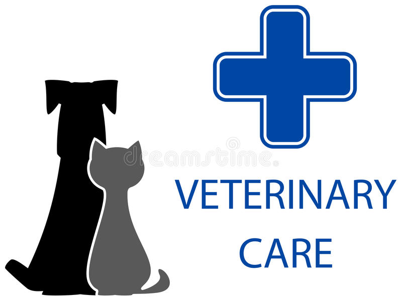Veterinary care symbol. With isolated pet and medical cross vector illustration