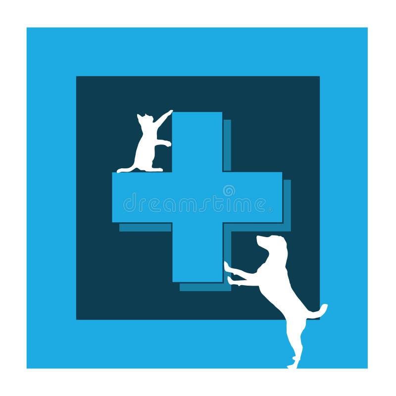Veterinary care symbol - logo cat and dogs. Veterinary care symbol - white isolate vector illustration
