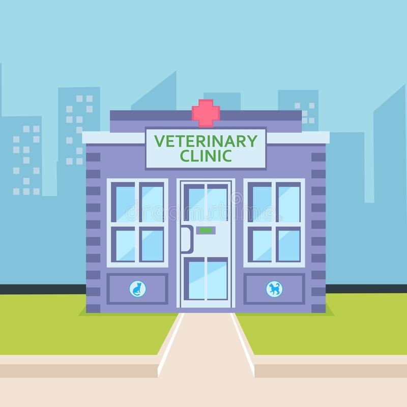 Veterinary Clinic Exterior Flat Color Illustration. Animal Hospital in Cityscape. Comfortable Building with Signboard, Green Lawn. Cartoon Pet Care Center. Vet royalty free illustration