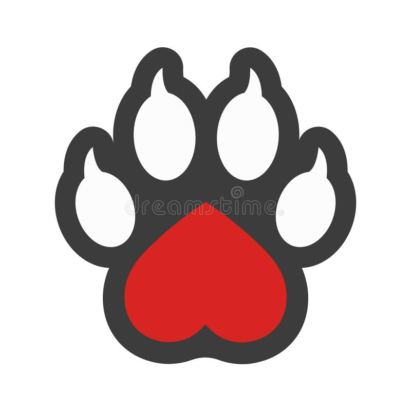 Veterinary clinic isolated vector logo, heart and dog paw print. Pets care hospital vector illustration