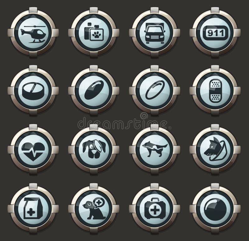 Veterinary clinic icons set vector illustration