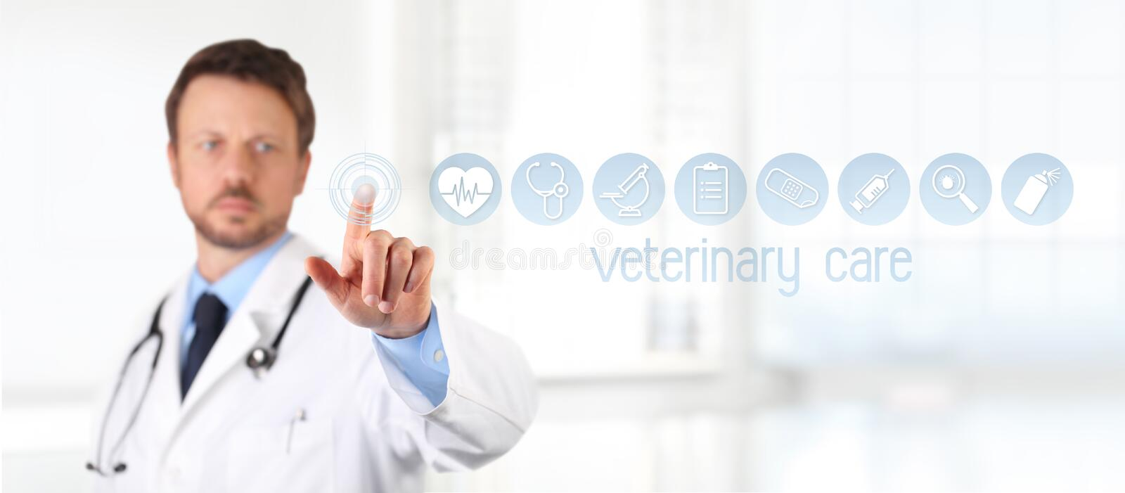 Veterinary doctor touch screen vet symbols icons on background. stock image