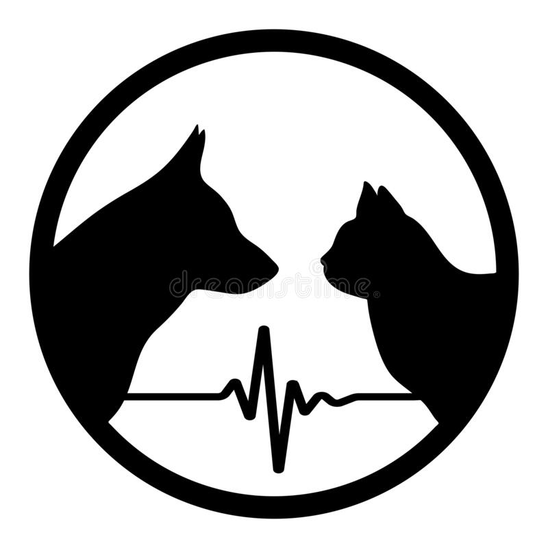 Free Veterinary Emblem Silhouette Of A Dog And Cat In A Circle With A Pulse Royalty Free Stock Images - 178743679