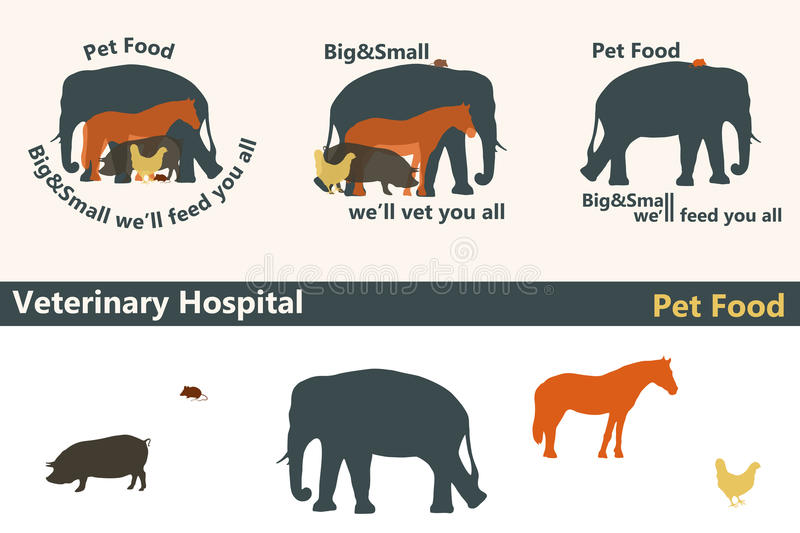 Veterinary Hospital or Pet Food logos as big and small animals s stock illustration