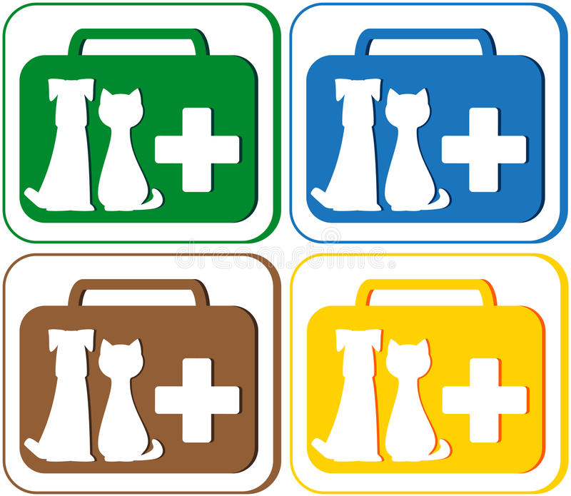 Veterinary Symbol With Portfolio And Pet Dog With Royalty Free Stock Image