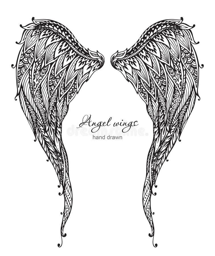 Vetor手拉的华丽天使飞过, zentangle样式 向量例证
