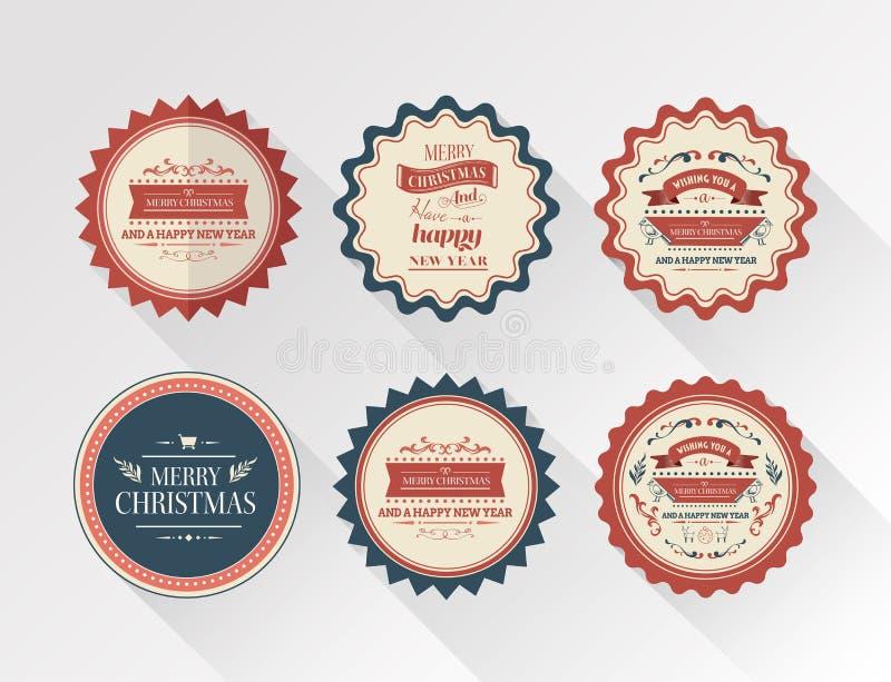 Vetor à moda dos crachás da mensagem do Feliz Natal ilustração do vetor