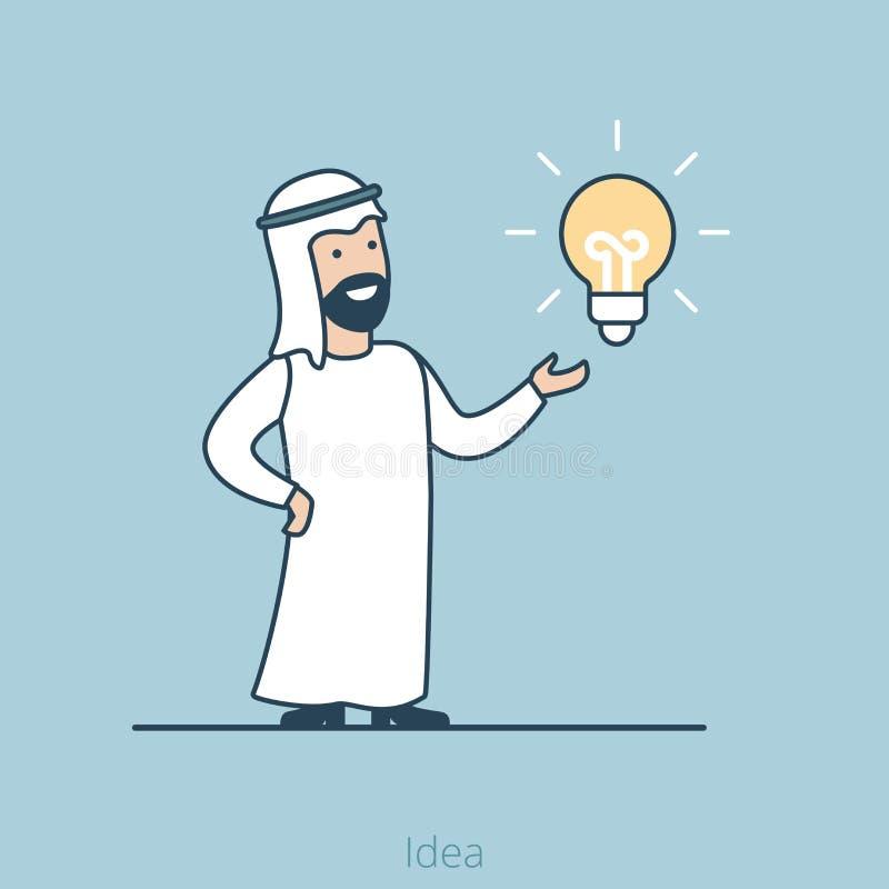 Vetor árabe liso linear da lâmpada do homem da ideia do negócio mim ilustração stock