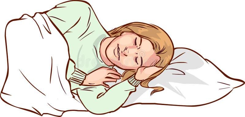 Vetor Ä°llustration de uma mulher de sono ilustração stock