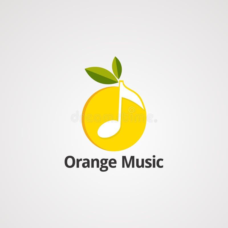 Vetor, ícone, elemento, e molde alaranjados do logotipo da música ilustração royalty free