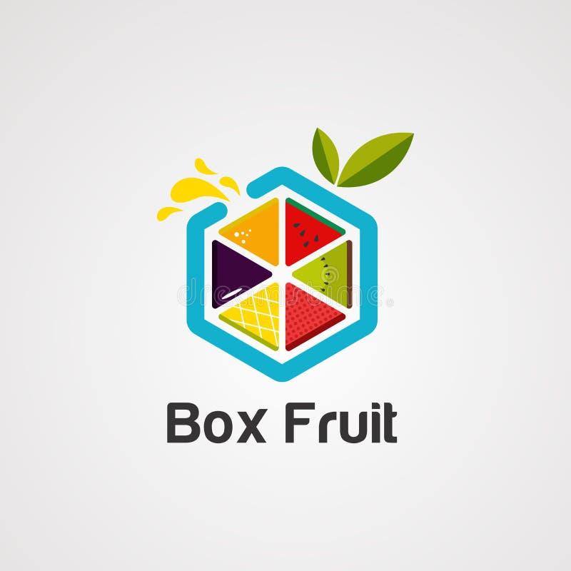 Vetor, ícone, elemento, e molde coloridos do logotipo do fruto da caixa para a empresa ilustração stock