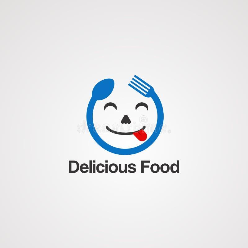 Vetor, ícone, elemento, e molde deliciosos do logotipo do conceito do alimento da cara para a empresa ilustração royalty free