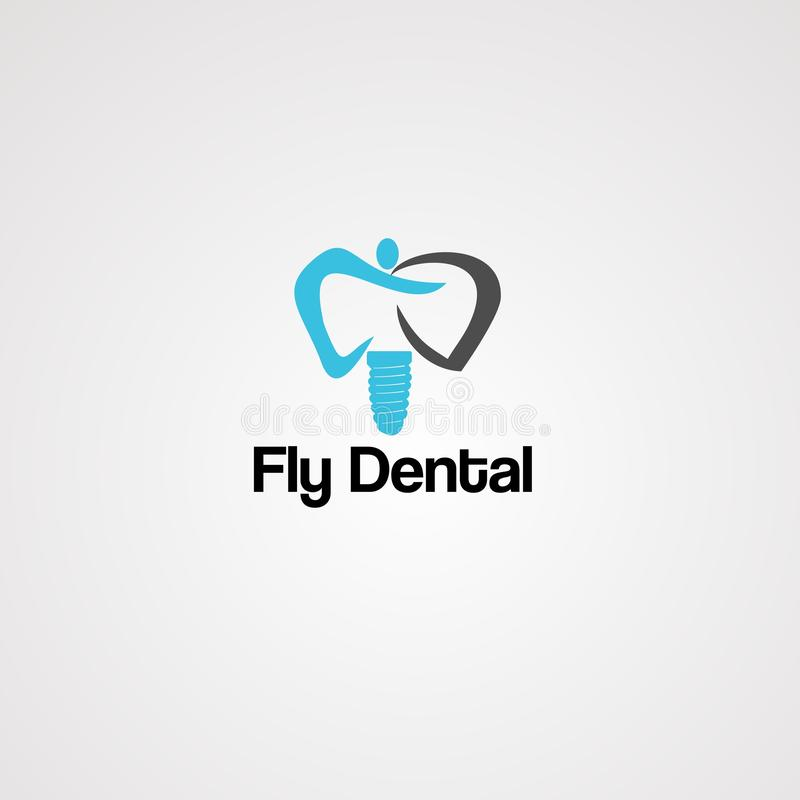 Vetor, ícone, elemento, e molde dentais do logotipo da mosca ilustração stock