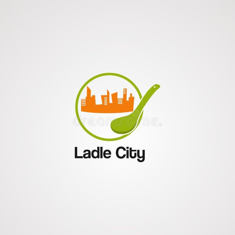 Vetor, ícone, elemento, e molde do logotipo do alimento da cidade da concha ilustração royalty free
