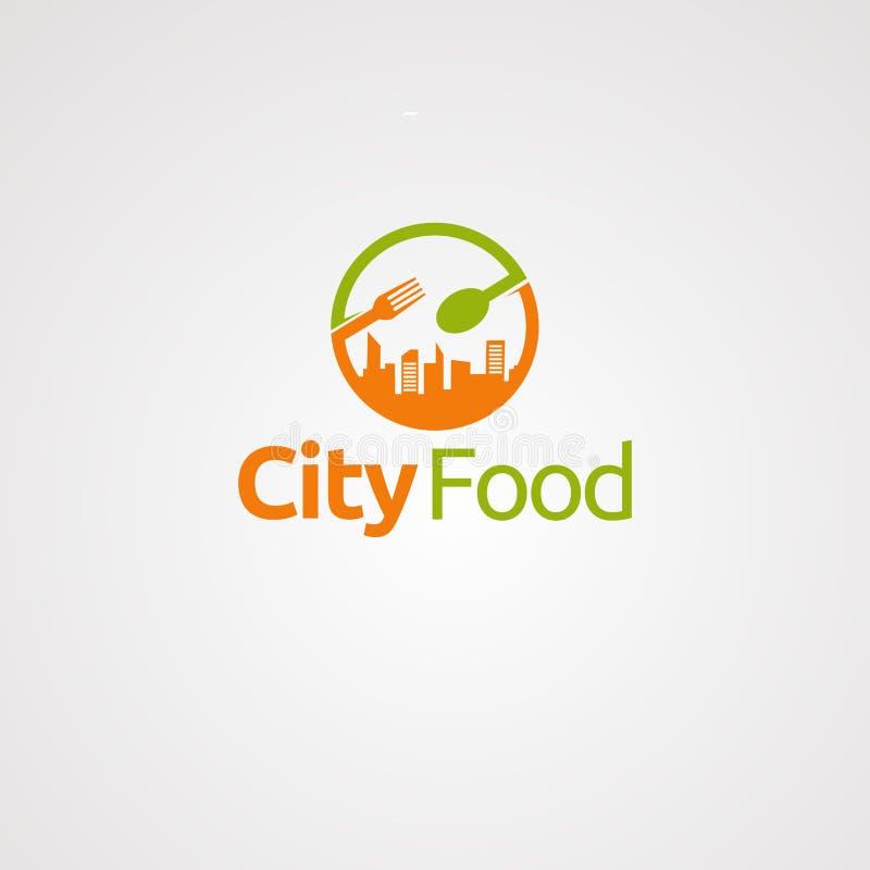 Vetor, ícone, elemento, e molde do logotipo do alimento da cidade para a empresa ilustração stock
