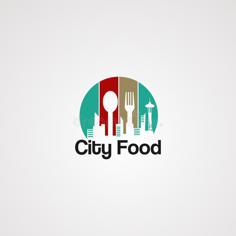Vetor, ícone, elemento, e molde do logotipo do alimento da cidade para o negócio ilustração royalty free