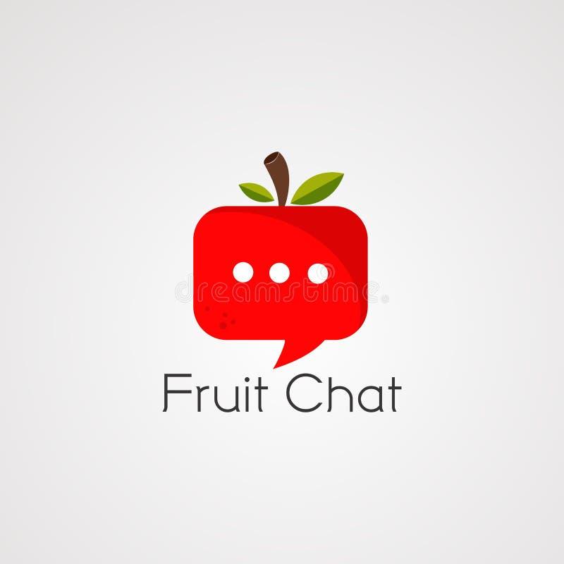 Vetor, ícone, elemento, e molde do logotipo do bate-papo do fruto ilustração royalty free