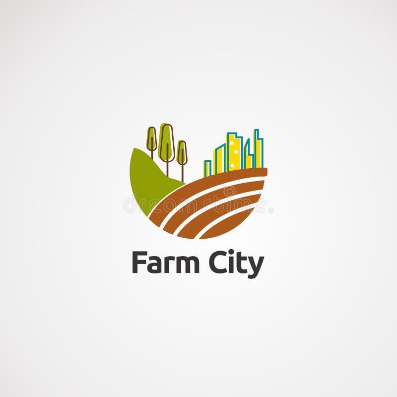 Vetor, ícone, elemento, e molde do logotipo da cidade da exploração agrícola para a empresa ilustração do vetor