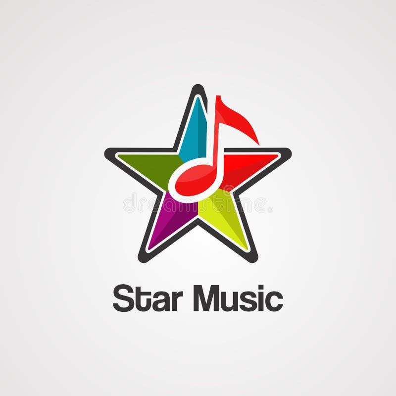 Vetor, ícone, elemento, e molde do logotipo da música da estrela ilustração royalty free