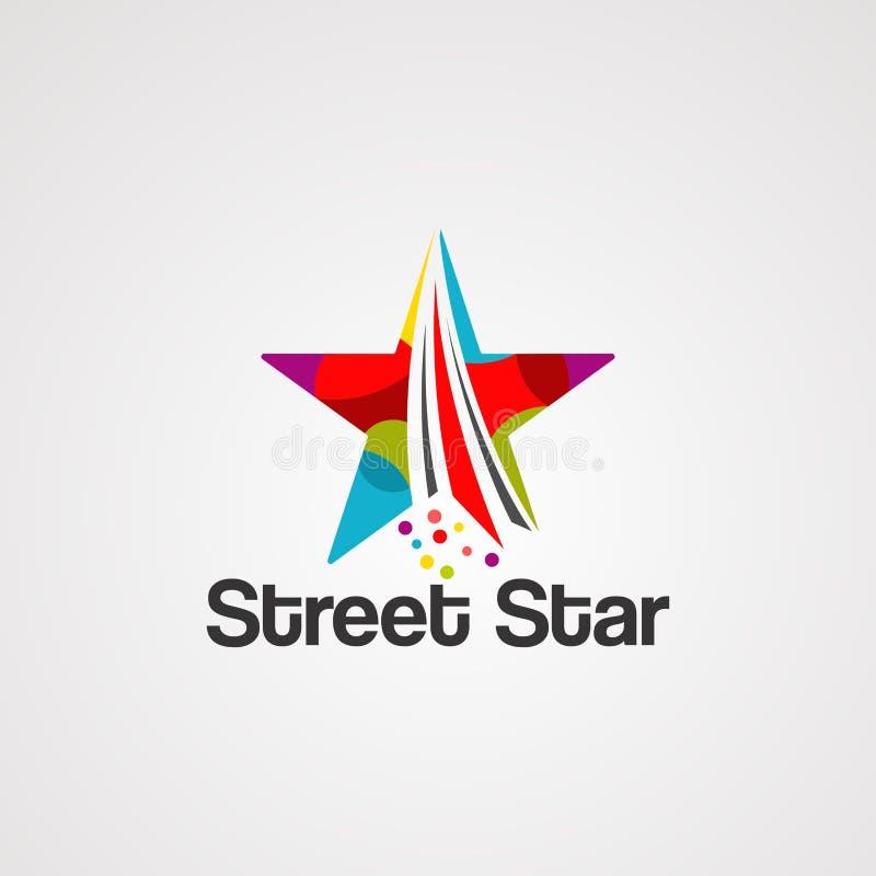 Vetor, ícone, elemento, e molde do logotipo da rua da estrela ilustração stock