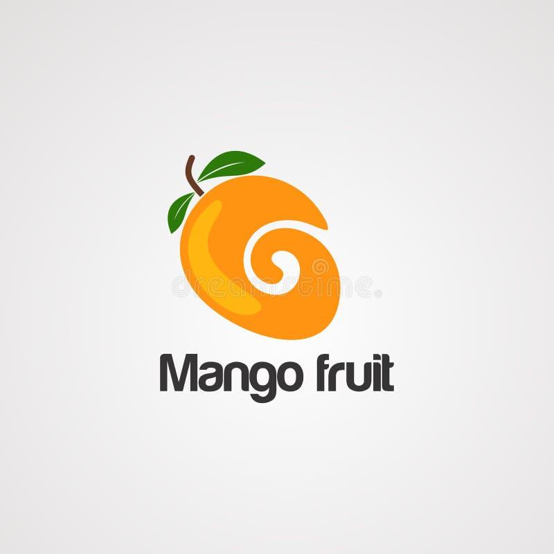 Vetor, ícone, elemento e molde do logotipo do fruto da manga ilustração do vetor