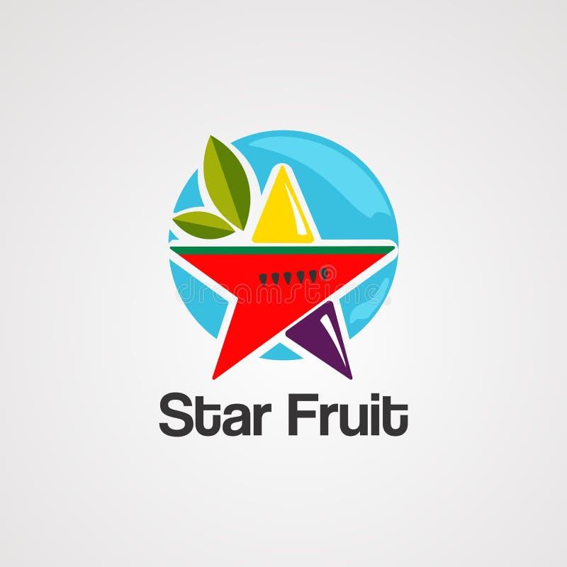 Vetor, ícone, elemento, e molde do logotipo do fruto de estrela ilustração royalty free