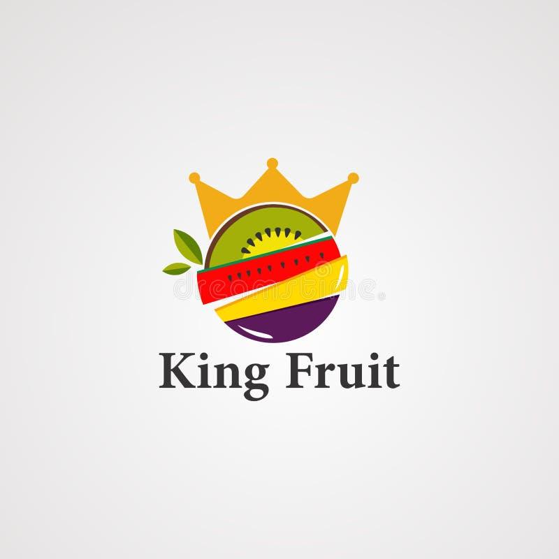 Vetor, ícone, elemento, e molde do logotipo do fruto do rei ilustração do vetor