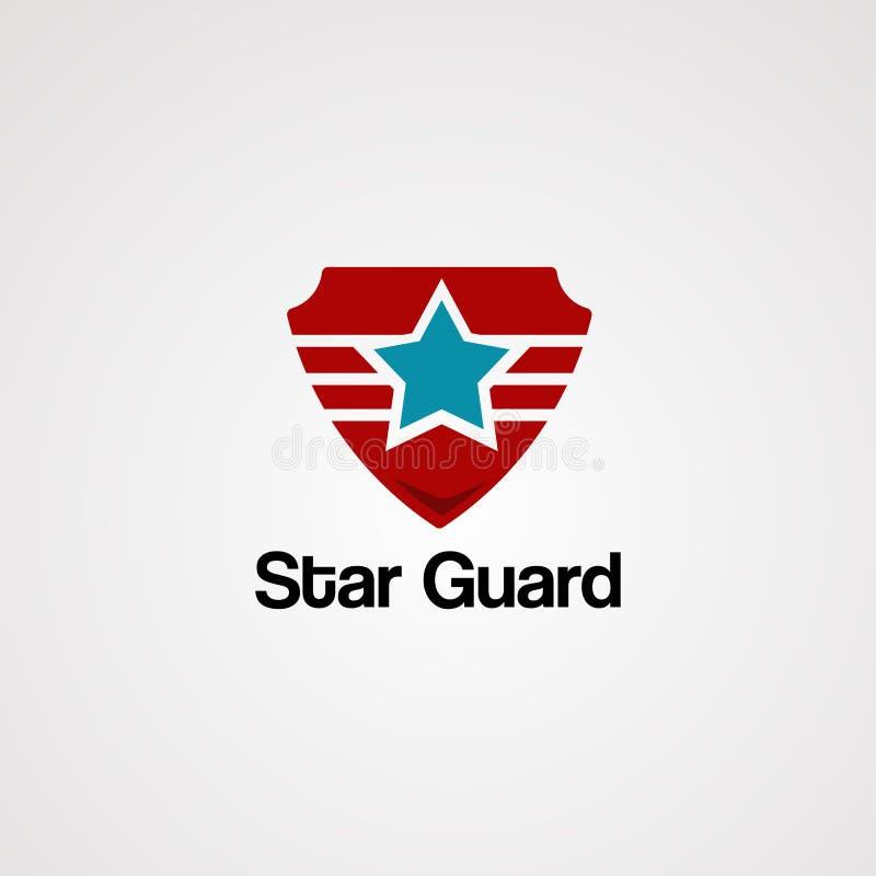 Vetor, ícone, elemento, e molde do logotipo do protetor da estrela ilustração royalty free