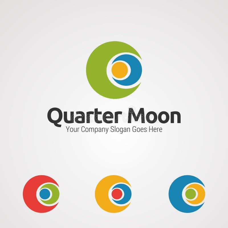 Vetor, ícone, elemento, e molde humanos do logotipo do abraço da lua de um quarto para a empresa ilustração stock